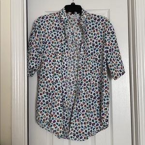 90s printed button down